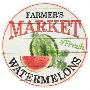 "12"" Metal Farmer's Market Sign: Watermelon"